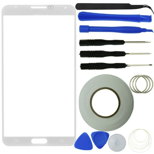 Samsung Galaxy Note 3 Screen Replacement Kit Including 1 Replacement Screen Glass For Samsung Galaxy Note Iii / 1 Pair Of Tweezers / 1 Roll Of Adhesive Tape / 1 Tool Kit / 1 Eco-Fused Microfiber Cleaning Cloth (White)