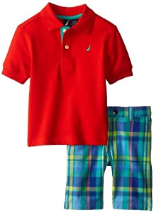 Nautica Boys 2-7 Solid Polo with Plaid Short 2 Piece Set 2 from Nautica