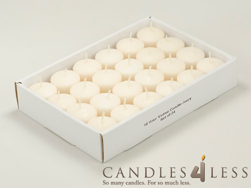 10 Hour Ivory Unscented Votive Candles Set of 24