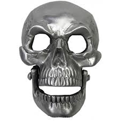 Skull Moving Jaw Silver Finished Belt Buckle.