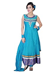 Divinee Aqua Blue Net Readymade Anarkali Suit
