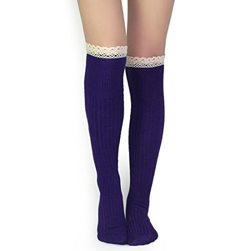 kilofly Women's Soft Lace Trim Knee-High Socks