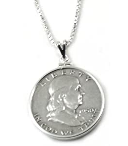 Coin Bezel Sterling Silver Franklin Half Dollar Pendant Set with Chain
