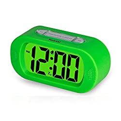 Plumeet Easy Setting LCD Travel Alarm Clock with Silicone Protective Cover,Large Digital Number Display,Snooze Good Backlight Function 3* AAA Batteries Powered Needed (Green)