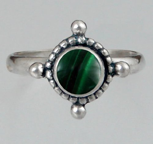 Sterling Silver Filigree Ring Featuring a Genuine Malachite Made in America