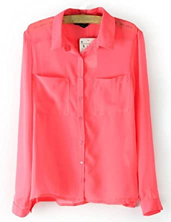 Women's Candy Color Sexy Sheer Chiffon Blouse Buttom Down Shirt Tops See-Through