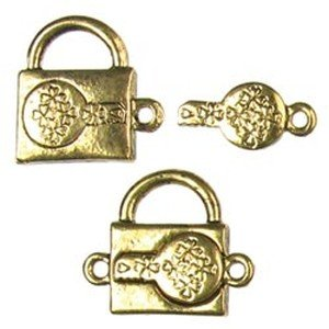 Cousin Beyond Beautiful Magnetic Clasp Findings Padlock (14 X 18 Mm) 2 Per Package - Antique Gold