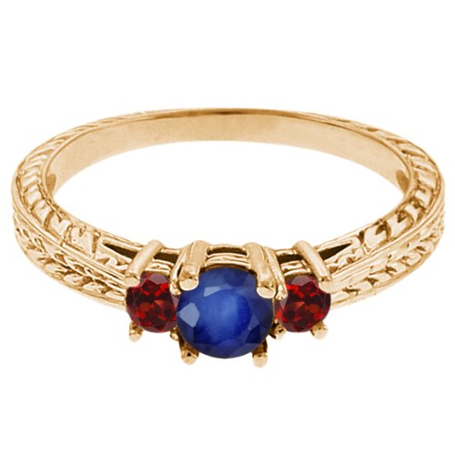 0.60 Ct Round Blue Sapphire Red Garnet 18K Yellow Gold 3-Stone Ring
