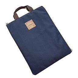 iSuperb® A4 Document Organizer Bag Tote Holder iPad Bag Case Waterproof Roomy Bag for Men Women (Dark Blue)