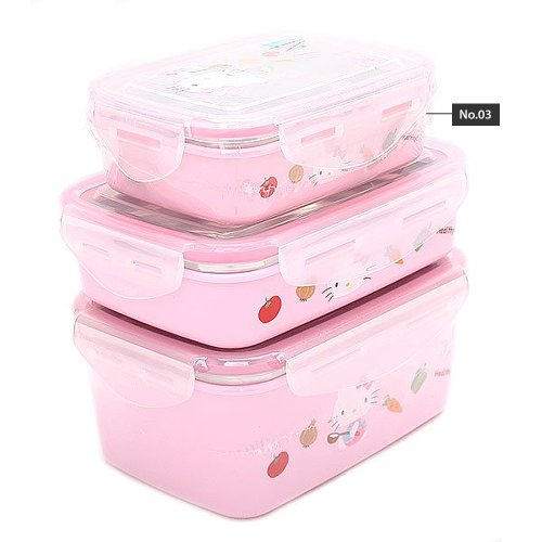 Hello Kitty (K-19) Stainless Lock Rectangular Bento Lunch Box Ladies Lunchbox (No.3)
