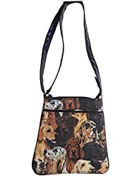 """US HANDMADE FASHION CROSS OVER BODY BAG WITH """"DOGS FACES"""" PATTERN BAG WITH ADJUSTABLE HANDLE, Cotton Fabric, NEW, CSOP 5063"""