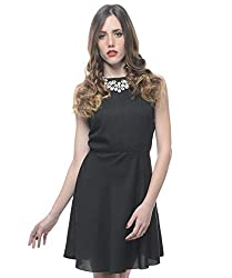 Xniva Women's Polyester Black Frilly Dress With Cut Out Back