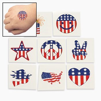 Temporary Patriotic Tattoos (6 dz) - 1
