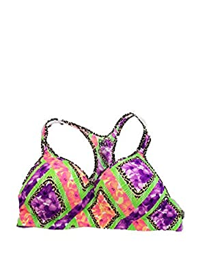Victoria Secret Pink Yoga Sports Bra Neon Tropical Floral Cheetah Print