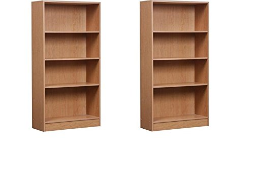 Complementing Orion 4-Shelf Bookcases, Set of 2 Your Color Choice Ideal for Your Books And Can Fit Organizer Bins For Added Style (Oak and Oak) (Color Book Bins compare prices)