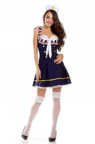 Ninimour- Deluxe Sailor Marine Pin up Girl Women Adult Halloween Costume (M, Blue)