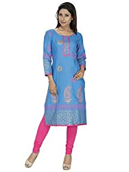 Tanvi Sky Blue Cotton Straight Kurti For Women