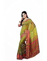 First Loot Designer Party Wear Raw Silk Green Saree -2371