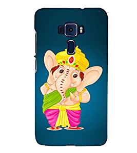 Lord Ganesha Cute Fashion 3D Hard Polycarbonate Designer Back Case Cover for Asus Zenfone 3 ZE552KL (5.5 Inches)