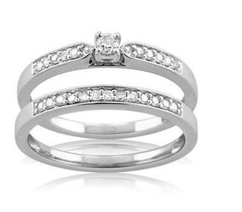 9CT White Gold 1/4 Carat Diamond Bridal Ring Set