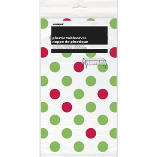 "Red & Green Polka Dot Holiday Plastic Tablecloth, 108"" x 54"" - 1"