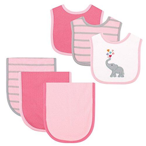 Hudson Baby 6 Piece Bib and Burp Cloth Set, Pink Elephant