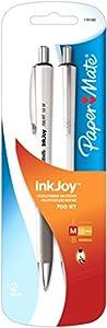 Paper Mate InkJoy 700 RT Retractable Medium White Body Ballpoint Pen, Black, 2 Pack (1781582)