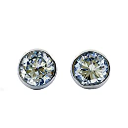 Cubic Zirconia Bezel Set Stud Earring - Clear : Target from target.com