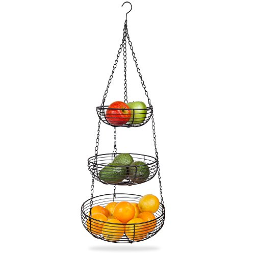 Home Intuition 3-Tier Hanging Basket Heavy Duty Wire, Round (Black) (Black Hanging Kitchen Baskets compare prices)