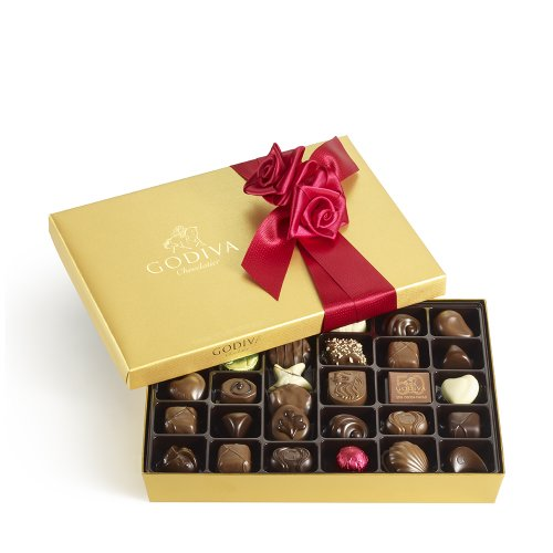 GODIVA Chocolatier Gold Ballotin Red Ribbon 36 Pieces
