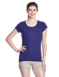 People Women's Body Blouse Top (P20401095158100_Navy and Blue_Small)