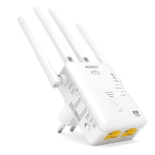 AUKEY Ripetitore Wifi 5G Quad Band 1167Mbps 802.11ac Quad Antenne Esterne Range Extender Universale Con Cavo Ethernet RJ45 Repeater / AP / Router ( Bianco )