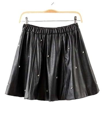 Fengbay Women's Elastic Waist Skull Rivets Leather Skirt