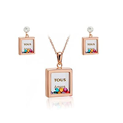Fashion Plaza Square Pendant Multi Color Crystals Earring and Necklace Jewelry Set S79