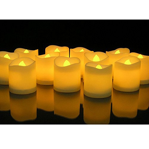 24 PCS Flameless Votive Candles Battery Operated Flickering LED Tea Light Botanical 2 Light Bath