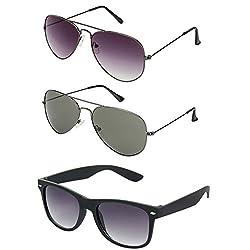 Rhodopsin UV Protected Grey Gradient Aviator , Grey Aviator and Black Wayfarer Sunglasses (3_Grey_Gradient_Grey_Aviator_Black_Way)