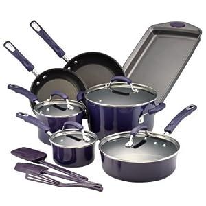 Rachael Ray Hard Porcelain Enamel Nonstick 14-Piece Cookware Set, Purple Gradient