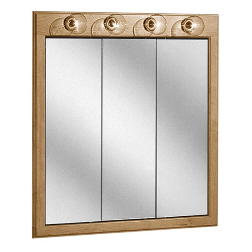 Coastal Collection SLMT-3035 Salerno Series Maple with Cider Finish Lighted Tri-View Medicine Cabinet, 30-Inch