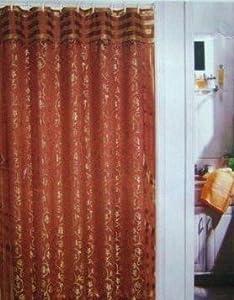 Sienna Rust Fabric Shower Curtain Damask Leaf Scroll Beaded Trim