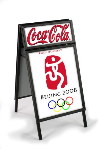 Displays2go A-Frame Sidewalk Sign for 22 x 28 Graphics, with Separate Headers, Aluminum Snap-Open Edges - Black (AFS28HDRBK)