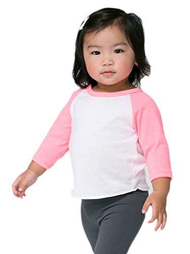 American Apparel Infant Neon Poly-Cotton 3/4 Sleeve Raglan - White / Neon Heather Pink / 18-24M
