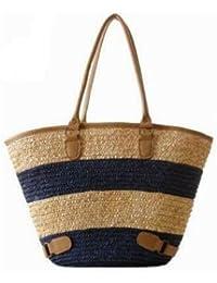 Fashion Women Straw Handbag (Blue)
