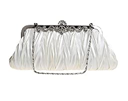Elf of Bolsas - Evening Handbag Classic Satin Detachable Strap Ivory Clutch