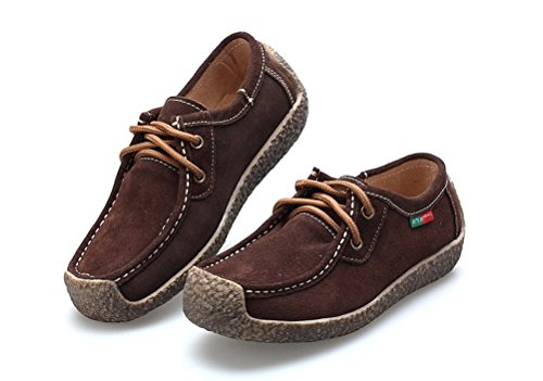WHENOW Women's Comfortable Rubber Sole Flats Loafer Shoes Driving Shoes Brown EU 39(US 8)