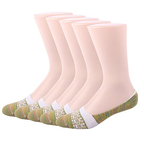RioRiva Women Hidden Patterned No Show Liner Socks 5 Pack Light Green (Plush Boot Liner compare prices)