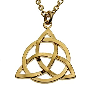 Delicate Triquetra Trinity Knot Gold Dipped Necklace on 18