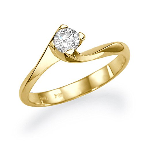 Solitaire Diamond Engagement Ring 0.30 CT Round Cut Main Stone D/SI1 (Clarity Enhanced) 18ct Yellow Gold