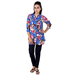 GO4IT's Blue Colored Printed Tops For Women-S