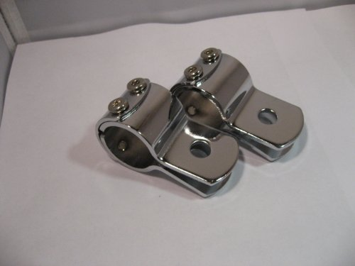 Sharkmotorcycleaudio Shkclamps Chrome 1 1/8 Handle Bar Clamps Shark Speakers (Pair) Firm Grip For Most Motorcycle
