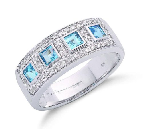 9ct White Gold Real Blue Topaz Squares & Diamond Anniversary Ring 0.97ctw